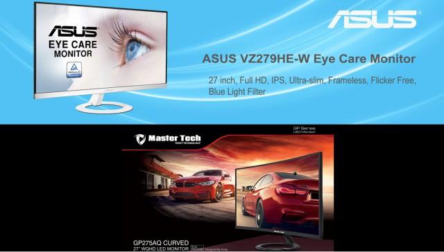 مقایسه مانیتور مسترتک MO GP 275 AQ Curve سایز 27 اینچ و ایسوس VZ279HE سایز 27 اینچ IPS