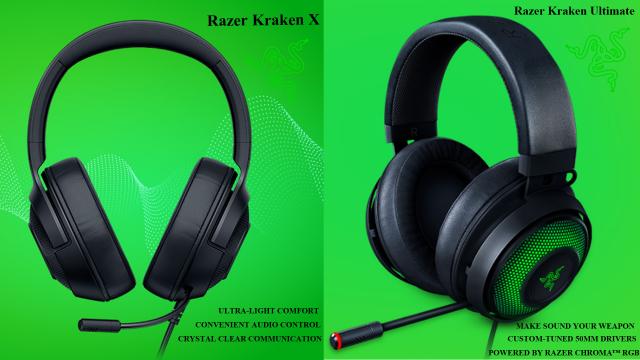 مقایسه هدست گیمینگ ریزر مدل KRAKEN ULTIMATE با هدست گیمینگ ریزر مدل KRAKEN X