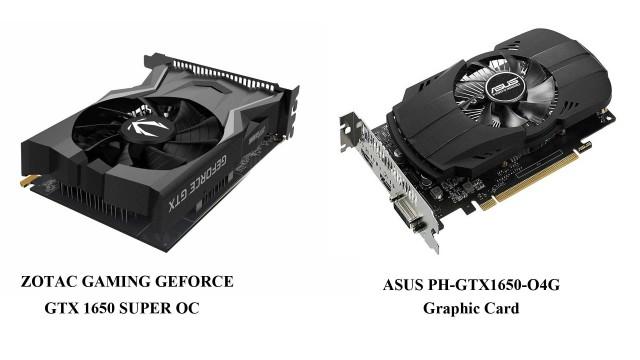 مقایسه کارت گرافیک ZOTAC GAMING GEFORCE GTX 1650 SUPER OC با کارت گرافیک ایسوس مدل 1650 PH OC D5