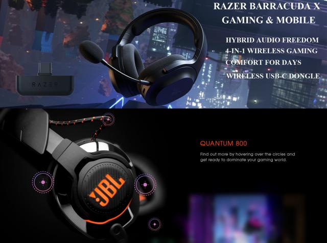 مقایسه هدست گیمینگ ریزر مدلRAZER BARRACUDA X با هدستQuantum 800JBL